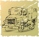 Esboço de um caminhão em um fundo marrom Imagens de Stock Royalty Free