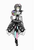 Esboço de vestidos elegantes Imagens de Stock Royalty Free