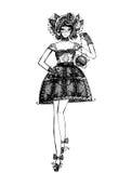 Esboço de vestidos elegantes Fotografia de Stock Royalty Free
