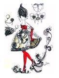 Esboço de vestidos elegantes Imagens de Stock