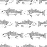 Esboço decorativo detalhado de um peixe Teste padrão sem emenda Fotos de Stock