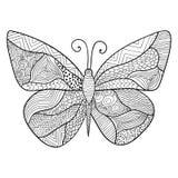 Esboço decorativo detalhado de uma borboleta Imagem de Stock Royalty Free