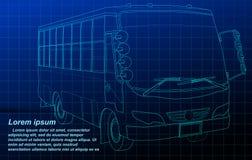 Esboço do ônibus no fundo azul ilustração royalty free