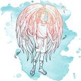 Esboço do anjo em um fundo do grunge Fotos de Stock