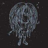 Esboço do anjo em um fundo preto do céu noturno Imagem de Stock