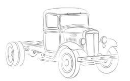 Esboço do caminhão velho Fotos de Stock