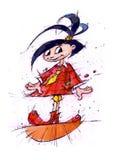 Esboço do caráter da menina Imagem de um personagem de banda desenhada para uns desenhos animados ilustração stock