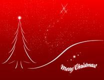 Esboço do cartão de Natal no fundo vermelho Imagem de Stock Royalty Free