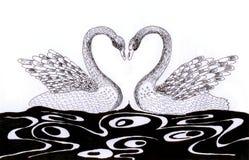Esboço do coração da cisne Ilustração Stock