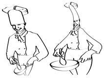 Esboço do cozimento dos cozinheiros chefe ilustração royalty free