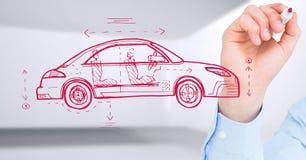 Esboço do desenho do carro e da mão imagem de stock