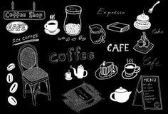 Esboço do desenho do café Fotos de Stock