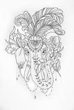 Esboço do elefante do circo com as penas no fundo branco Imagens de Stock Royalty Free