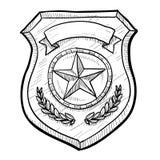 Esboço do emblema da polícia ou da segurança Imagens de Stock Royalty Free