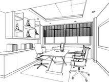 Esboço do esboço de um interior Imagens de Stock Royalty Free