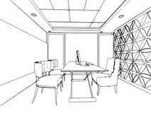Esboço do esboço de um interior Fotos de Stock Royalty Free