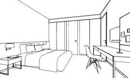 Esboço do esboço de um interior Imagem de Stock Royalty Free