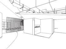 Esboço do esboço de um interior Fotografia de Stock Royalty Free