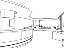 Esboço do esboço de um interior Fotografia de Stock
