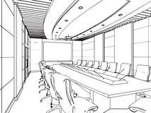 Esboço do esboço de um interior Imagens de Stock