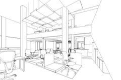 Esboço do esboço de uma área interior do escritório Fotografia de Stock