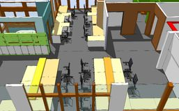 Esboço do espaço de escritórios ilustração royalty free