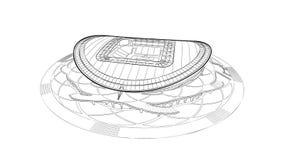 Esboço do estádio principal em Kazan Imagem de Stock