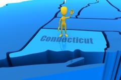 Esboço do estado de Connecticut com figura amarela da vara Imagens de Stock Royalty Free