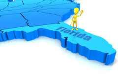 Esboço do estado de Florida com figura amarela da vara Imagens de Stock