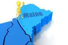 Esboço do estado de Maine com figura amarela da vara Imagens de Stock Royalty Free