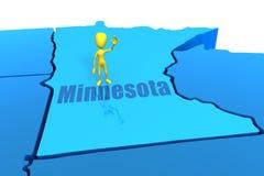 Esboço do estado de Minnesota com figura amarela da vara Fotografia de Stock Royalty Free