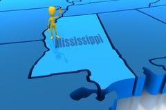 Esboço do estado de Mississippi com figura amarela da vara Imagem de Stock