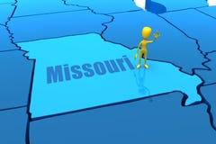 Esboço do estado de Missouri com figura amarela da vara Foto de Stock Royalty Free