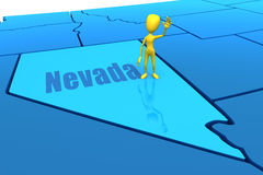 Esboço do estado de Nevada com figura amarela da vara Imagem de Stock