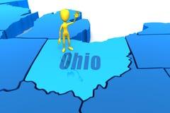 Esboço do estado de Ohio com figura amarela da vara Imagens de Stock Royalty Free