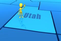 Esboço do estado de Utá com figura amarela da vara Foto de Stock Royalty Free