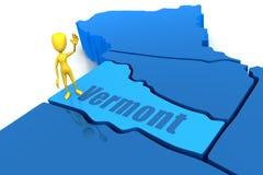 Esboço do estado de Vermont com figura amarela da vara Fotos de Stock Royalty Free