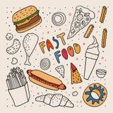 Esboço do estilo da garatuja do fast food Desenho preto e branco a mão livre com algumas cores Filhós do gelado de pé de galinha  ilustração royalty free