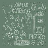 Esboço do estilo da garatuja da pizza Desenho monocrom?tico a m?o livre ilustração do vetor