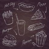 Esboço do fast food em um fundo escuro Foto de Stock