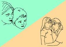 Esboço do filho e da filha da mãe Imagens de Stock Royalty Free