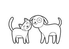 Esboço do gato e do cão dos desenhos animados Fotos de Stock