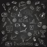 Esboço do giz de quadro-negro dos ícones da estratégia empresarial ilustração royalty free