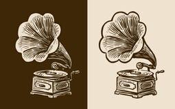 Esboço do gramofone Música retro, nostalgia Ilustração do vetor do vintage Imagens de Stock
