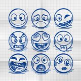 Esboço do grupo tirado mão de emoji dos desenhos animados ilustração do vetor