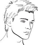 Esboço do homem da face do vetor. elemento do projeto Fotografia de Stock