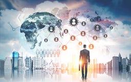 Esboço do homem de negócios e do globo Foto de Stock Royalty Free
