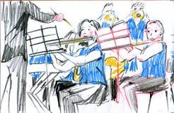 Esboço do instrumento musical da faixa de bronze de cobre da orquestra ilustração stock