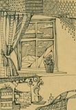 Esboço do interior com a janela com cortinas Ainda vida 1 Foto de Stock Royalty Free