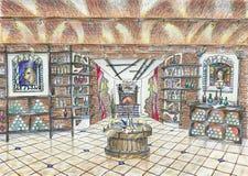Esboço do interior da loja de vinho Imagem de Stock